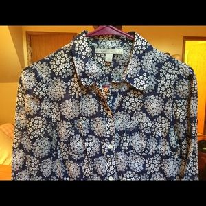 Old Navy Button Down Blouse S 100% Cotton Floral
